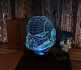 Casque led3D illusion stéréo nuit lampe chambre lampe de table de chevet USB tactile sept changement de couleur lumière sommeil