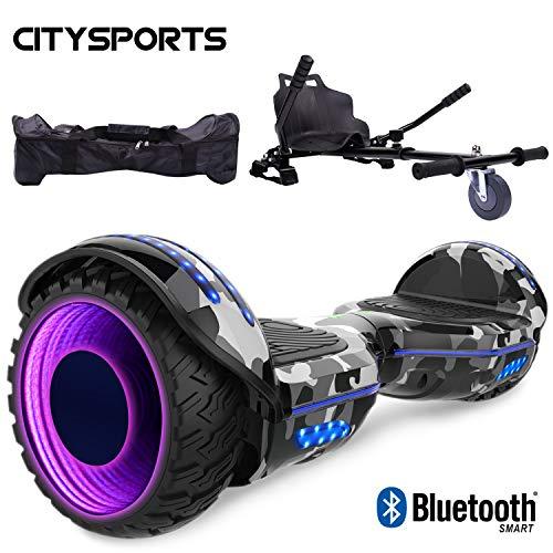 """CITYSPORTS Hoverboard 6,5\""""mit Hoverkart einstellbar, selbstausgleichender Roller mit LED-Rad und integriertem Bluetooth, Motor 2 * 350W"""