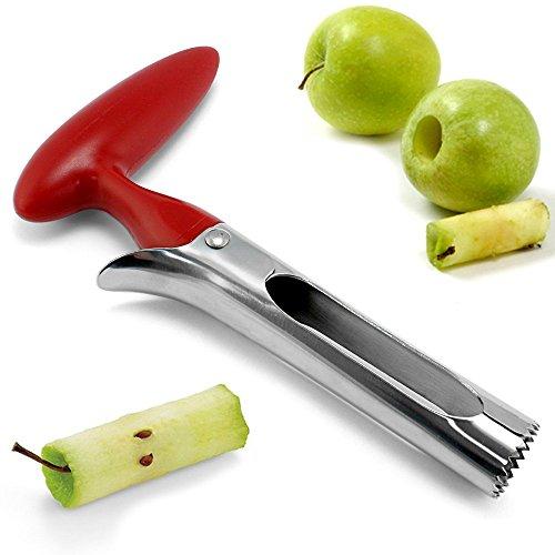 Uteruik 2 pcs éclairés Vide-Pomme dentelé pour Fruits et légumes | Robuste Premium | Design Ergonomique Poignée antidérapante | en Acier Inoxydable Rouge Cerise