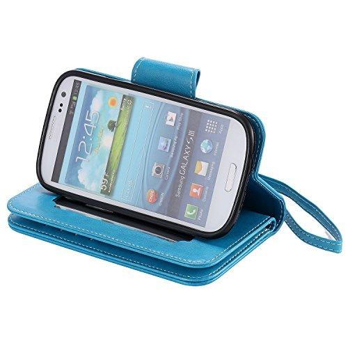 Leather Case Cover Custodia per Apple iPhone 6 plus/6s Plus 5.5 ,Ecoway Caso / copertura / telefono 3D Donna e gatto di disegno in rilievo dipinto di progettazione Folio PU a libro con 9 tasche di car blu