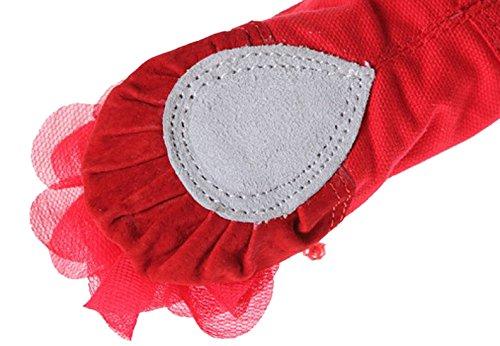 De Chiffon Da Feoya Único Sapatos Balé Balé 36 22 De De Sapatilhas Vermelho De Couro Dança De Tela Flores Couro Reforço Com De Sapatos Tamanho Superior A0fw6fxqn