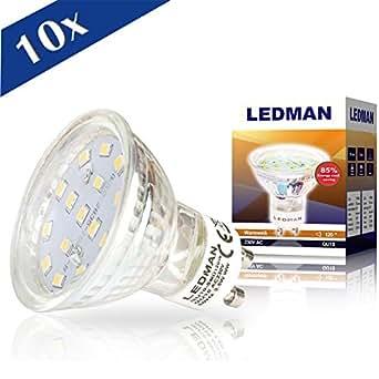 LEDMAN 10x GU10 LED Lampe 3,5 W, 120 Grad Abstrahlwinkel, 300 lm, 230 V, 15 SMDs Strahler, warmweiß G10-SMD120Wx10