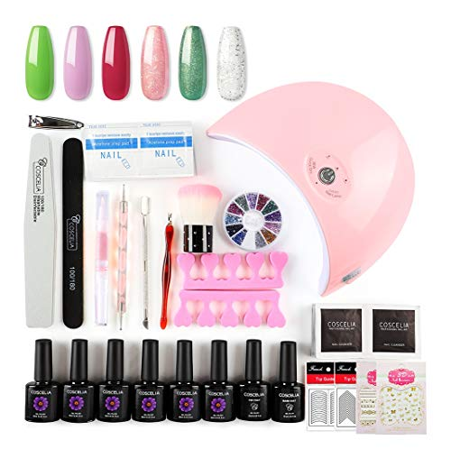 Saint-Acior Kit Uñas de Gel 6 Color Esmalte Semipermanente Gel Uñas 36W Rosa Secador de Uñas UV/LED...