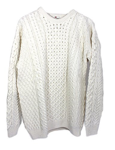 Irische Aran-damen-pullover (Traditionelle irische Aran Merino Wool Sweater, Weiß, L)