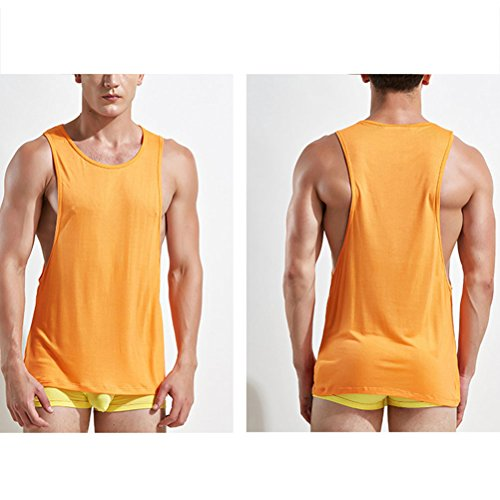Zhhlaixing di alta qualità Soft Mens Summer Breathable Vests Trainning Gym Tops Underwear Size:XL XXL Orange
