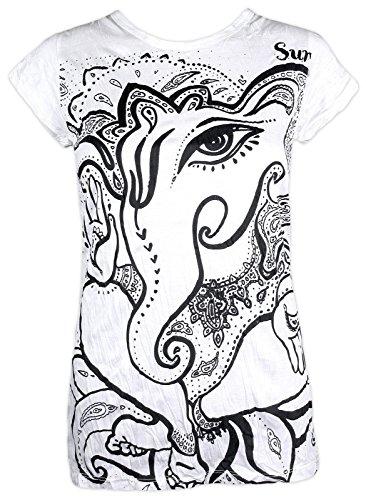 Sure Clothing Camiseta Mujer Ganesha Talla S M L Espíritu Natural Budismo Yoga Boho Hinduismo Namaste Dios Elefante (S, Blanco)