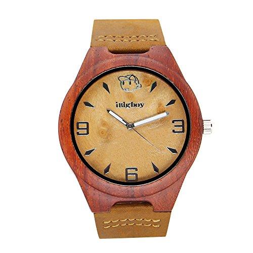 iBigboy Mode Holz Uhr mit Mineralhartglas und Lederband Uhr