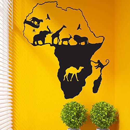 zxddzl Wandaufkleber Afrikanische Safari Wandaufkleber Wohnkultur Kinderzimmer Tiere Karte Wandtattoos Abnehmbare DIY Vinyl Aufklebercm 84x74cm