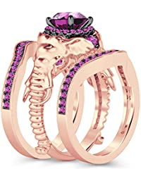 Silvernshine Milgrain Halo 9K Rose Gold Plated 1.2Ct Round Pink Sapphire CZ Diamond Elephant Ring