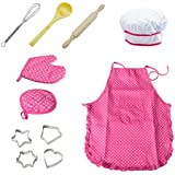 LCZX 11pcs Kids Chef Set Kitchen Costume Role Play Kits Cooking Play Sets With Girls Apron, Chef Hat, Utensils Accessories For Toddler Career Role Play Children Pretend Play