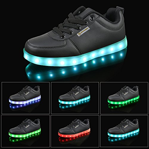 Shinmax Scarpe LED, Carica USB 7 Colori Lampeggiante Unisex da Tennis per Il Giorno di Natale del Regalo del Partito di Promenade con Certificato CE Scarpe con Luci Nero