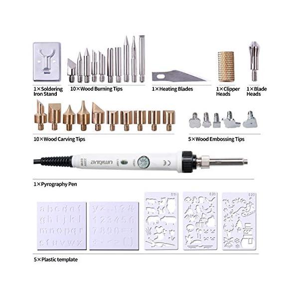 Umitive-34Pcs-Kit-Pirografia-Legno-60W-Temperatura-Regolabile-28-Incisione-legno-a-Caldo-Punte-5-Stencil-1-Supporto-Elettrico-Attrezzi-Incisione-Professionale-lavori-Pirografo-su-Cuoio-Legno