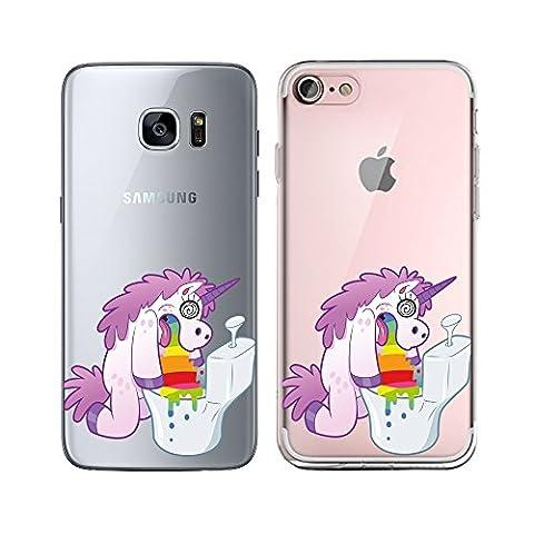 Original Lanboo® Silikon Case Für Samsung Galaxy S6 Edge #5 Motiv 6 - Einhorn Unicorn übergibt sich Rainbow Regenbogen auf der Toilette - bunt Disney Cartoon Lustig Funny Druck Motiv - Schutz Tasche Schale Hülle Etui Cover Bumper TPU