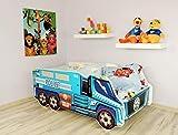 Alcube | Kinderbett Auto-Bett Police | 140 x 70 cm | mit Rausfallschutz, Lattenrost und Matratze | MDF beschichtet