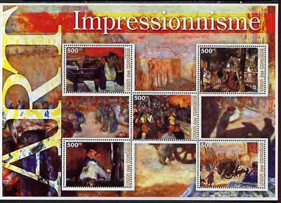 Comoro Islands 2005 Paintings (Impressionist) large perf sheetlet 5 values u/m ARTS MANET GAUGUIN VAN GOGH RENOIR JandRStamps -