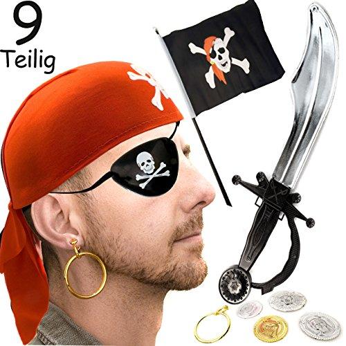 HOMETOOLS.EU - Piratenkostüm 9-Teilig | Piraten Kappe Schwert Augenklappe Fahne Münzen | rot (Kostüm Hockey Halloween Ideen)