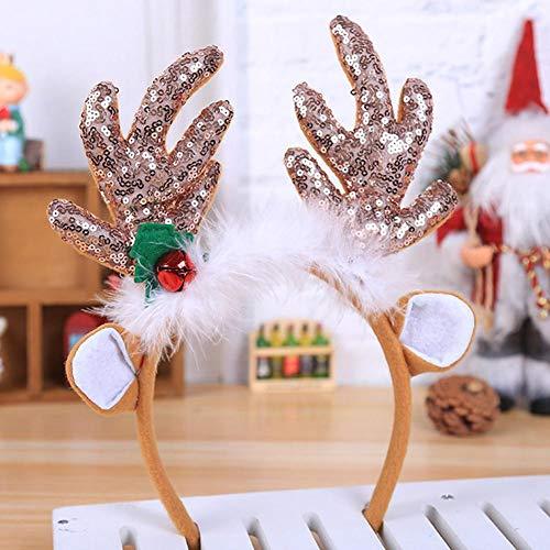 (Class-Z Weihnachten Stirnband,Erwachsene Kinder Weihnachten Blumen Geweihe Kostüm Haarreif Haarband,Haarspange für Kinder Weihnachten Kostüm Party)