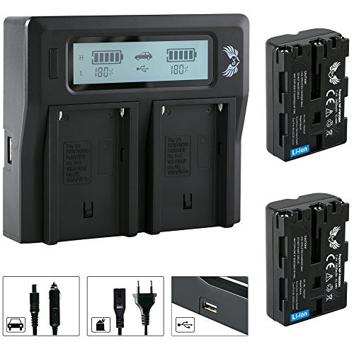 2x SK Akku Sony NP-FM500H 1400mAh + LCD Dual Doppel Ladegerät für Sony NP-F550 NP-F750 NP-F950 NP-F990 NP-FM50 NP-FM500 H und weitere Np-fm50-lithium-batterie