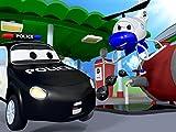 Der Unfall des kleinen rosa Autos und der Streifenwagen mit dem Polizeiauto und dem Feuerwehrauto