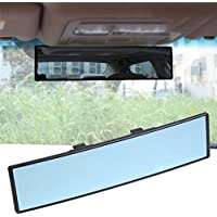 """11.42"""" Wide Angle Rear view Mirror Universal Curve Convex Rear View Mirror, Clip on Car Rearview Anti-glare Blue Mirror Panoramic for SUV/Truck/Car"""