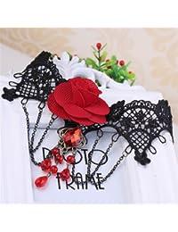 Qiyun Ganchillo Negro Gargantilla De Encaje Rojo De La Mujer Se Levanto Cadenas De Collar De Flores Borla Collar