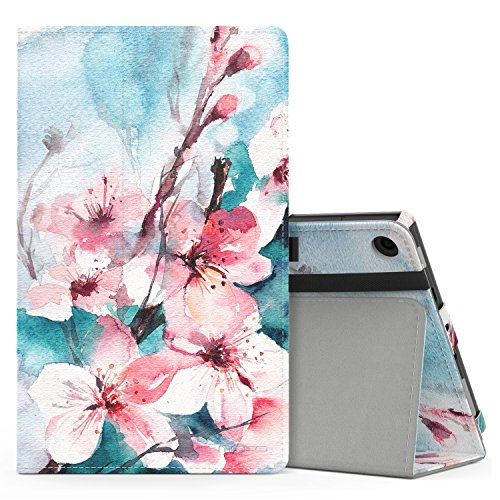 MoKo Hülle für All-New Amazon Fire HD 8 Tablet (7th und 8th Generation - 2017 und 2018 Modell) - Kunstleder Ständer Schutzhülle Smart Cover mit Stift-Schleife, Pfirsichblüte