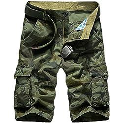 Panegy Nuevo Hombres Pantalones Cortos Camo Cargo Camuflaje Shorts Verde Militar Talla 42 - 44 (cintura: 86,5cm)