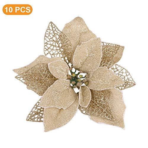 Rethyrel - fiore di stella di natale artificiale, 10 pezzi, fatto a mano, decorazione per albero di natale per la casa oro