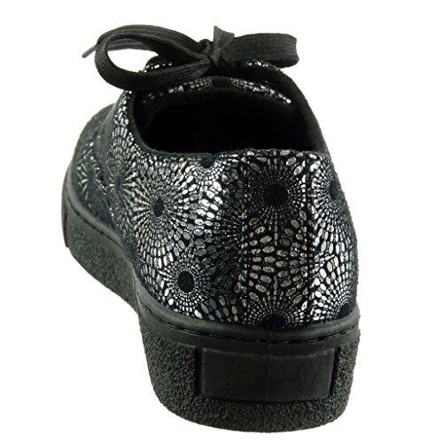 Angkorly Damen Schuhe Sneaker - Blumen - Glänzende Flache Ferse 3 cm Gold