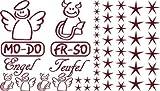 Autoaufkleber Sticker Aufkleber Set für Auto Schriftzug Engel Mo-Do Fr-So Teufe (026 purpurrot)