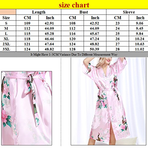 Zhhlaixing Womens Sexy Robe Lingerie nightwear Night gown Nightie Silk Bathrobe wp200 Light Blue