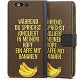 Huawei P10 Tasche Hülle Flip Case Affe Bananen Sprüche