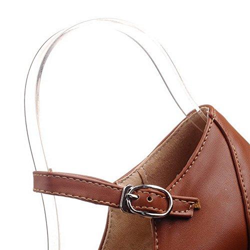 VogueZone009 Femme Matière Souple Rond à Talon Haut Boucle Couleur Unie Chaussures Légeres Brun