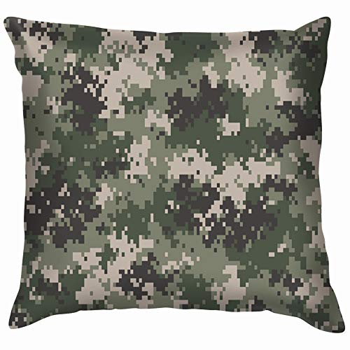 Nicegift Woodland Summer Camouflage Trendy Style Camo Digital Cotton Linen Home Decorative Throw Pillow Case Cushion Cover for Sofa Couch 18X18 Inch -