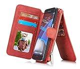 Rundumschutz Multifunktions-Echtleder [Große Kapazität] [2IN1 Abnehmbare Magnetadsorption] [Kartensteckplätze] [Reißverschluss Brieftasche] Fall Abdeckung für Samsung (Galaxy S7, Rot)