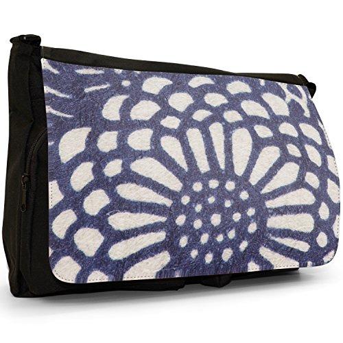 Fancy A Bag Borsa Messenger nero Japanese Art Red Fan Japanese Art Blue Flowers