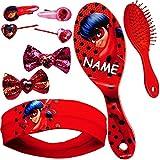 alles-meine.de GmbH Set _ Haarbürste + Haarschmuck - Miraculous - inkl. Name - Kinderschmuck - für Mädchen / Kinder - Schmuck Haarschmuck - Haarband / Stirnband - Haargummi Haars..