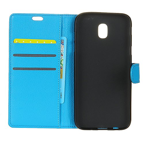 Solid Color Litchi Hautmuster Faux Ledertasche, Retro Folio Stand Case mit weichen Back Cover Geldbörse Tasche mit Card Slots für Samsung Galaxy J5 2017 ( Color : Rose ) Blue