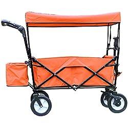 CHHBOXCHH Chariot Pliable avec Toit/Chariot De Jardin Pliable avec Freins/Charrette De Transport à Tirer Main Diverses Couleurs Au Choix Tissu ImperméAble,Orange