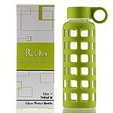 Reeho® Sportflasche Trinkflasche aus Glas, BPA-frei Wasserflasche Glas, Borosilikat Glasflasche Mit Silikonhülle (Grün, 360ml)