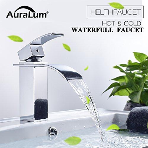 Auralum – Moderne Wasserfallarmatur für Waschbecken, Chrom - 3