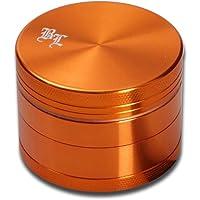 Black Leaf - Macinino in alluminio, 4 pezzi, con magnete, Ø 50 mm, colore: Arancione