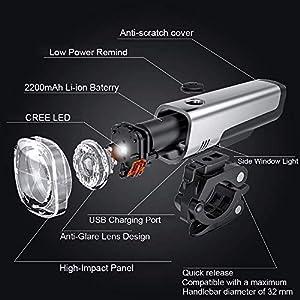 Gretrue LED Luz Delantera y Trasera Bicicleta Lámpara Impermeable IPX5 USB Frontal Posterior Recargable 4 Modo 2200mAh, Diseño antideslumbrante