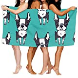 Toalla de baño KSIY Boston Terrier con patrón económico de 80 x 132...