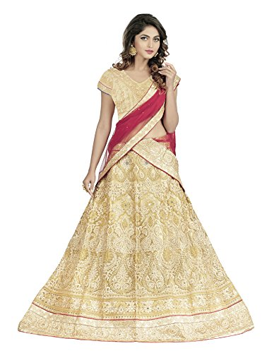 Oomph! Women\'s Net Bridal Lehenga Choli/Semi Stitched Lehenga Choli Party WearGhagra Choli Weddings, Marriage, Buttermilk Beige