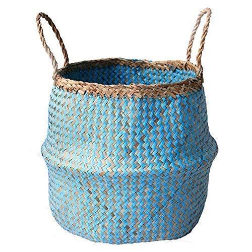 Lucaswang Natürlicher Seegras Korb, geflochtener Faltbarer Pflanztopf, handgefertigter Bauchnabelkorb mit Griff für Lagerung, Wäsche, Picknick, Pflanztopf und Strandtasche -