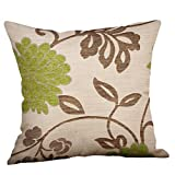 Kissenbezug Kissenhülle 45x45 cm Sofa vintage deko Grün Lime Natural Creme shabby chic deko Pillow Cover by WWricotta (D)