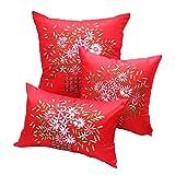 Nunubee Pastoralen Amerikanisch Stickerei Kissenbezüge Blumenmuster Sofakissen Satin Kissenhülle Dekokissen Kissenbezug, 35x55cm Rot