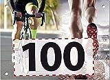 100 Startnummern Duathlon, Papier classic-race, Format 20 x 14,5 cm (ca. DIN A5), nummeriert von Nummer 1