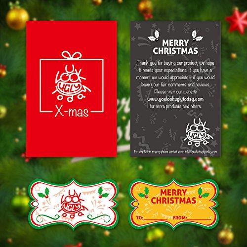 LOOKS FUNNY Premium Lustig Lange Weihnachtspullover Weihnachtspulli Long Pullis Strickpullover im Tunika-Stil für Damen mit weihnachtlichen Motiven, XS - XXXL Rot - 02